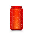 realistic red can with drops water isolated on vector image vector image