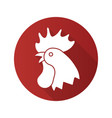 rooster flat design long shadow icon vector image