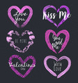 set of 6 textured shapes of heart vector image