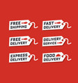 set of delivery service on red background vector image