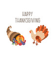 set of thanksgiving turkey horn of plenty vector image vector image