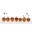 set realistic halloween orange pumpkins vector image