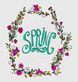 spring card with floral wreath spring word and vector image vector image