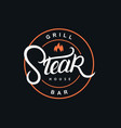 steak house hand written lettering logo vector image vector image
