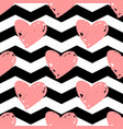 tile pattern with pink hearts chevron background vector image vector image