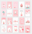 valentines day background with cute baanimal vector image vector image