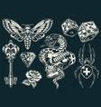 vintage monochrome tattoos collection vector image vector image