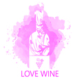 Wine tasting and love card vector image vector image