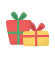 wrapped gift boxes decoration party icon vector image