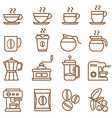 coffee icons set brown color vector image