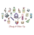 Hand drawn cosmetics and make up objects vector image