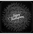 Thanksgiving with sunburst on black background vector image