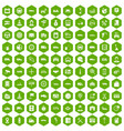 100 auto icons hexagon green vector image vector image