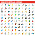 100 marketing icons set isometric 3d style vector image vector image