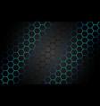 abstract blue light hexagon line in grey modern vector image vector image