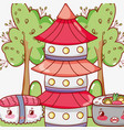 asian food cute kawaii cartoon vector image vector image