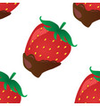 background with strawberry in chocolate vector image