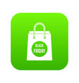 black friday shopping bag icon digital green vector image
