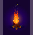 bonfire with flying sparks on dark background vector image vector image