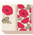 Business card set with hand drawn poppy flowers vector image