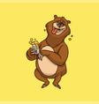 cartoon animal design bear is drinking beer cute