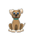 cartoon dog sitting in collar isolated on white vector image vector image