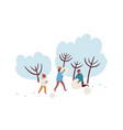 cartoon family making snowman together flat vector image vector image