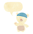 cartoon polar bear wearing hat with speech bubble vector image
