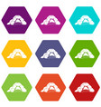 cave icons set 9 vector image vector image