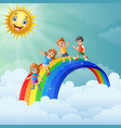children standing over the rainbow with smiling su vector image