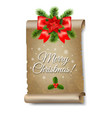 christmas old paper banner white background vector image vector image