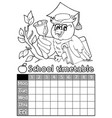 coloring book timetable topic 4 vector image vector image