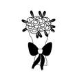 contour beautiful flower bouquet decoration design vector image