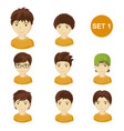 cute brunet little boys with various hair style vector image