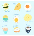 cute variety food from egg cartoon set vector image vector image