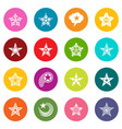 decorative stars icons set colorful circles vector image