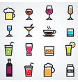 drink icons set color vector image vector image