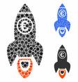 euro rocket launch mosaic icon circles vector image vector image