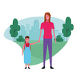 family mother and daughter vector image