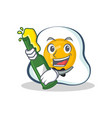fried egg character cartoon with beer vector image vector image