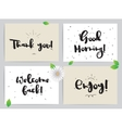 Greeting cards set with calligraphy Hand drawn vector image