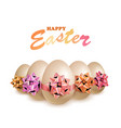 happy easter eggs with bow vector image vector image