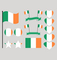 ireland flag set collection of symbols heart vector image vector image