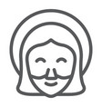 jesus line icon portrait and christ god sign vector image vector image