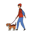 man with little beagle dog vector image