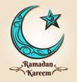 moon and star ramadan kareem emblem vector image