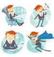 Office man hipster set flying super man wearing vector image vector image