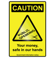 Public spending cuts hazard Sign vector image vector image