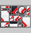 red professional business branding stationery set vector image vector image
