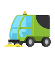 road sweeping machine isolated flat icon vector image
